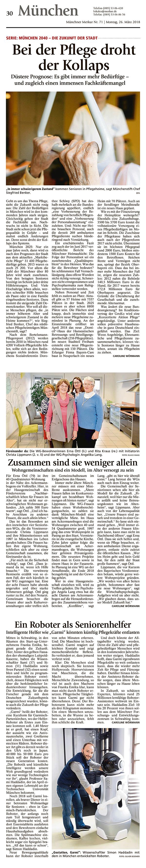 Presseartikel Münchner Merkur über Pflegenotstand ...