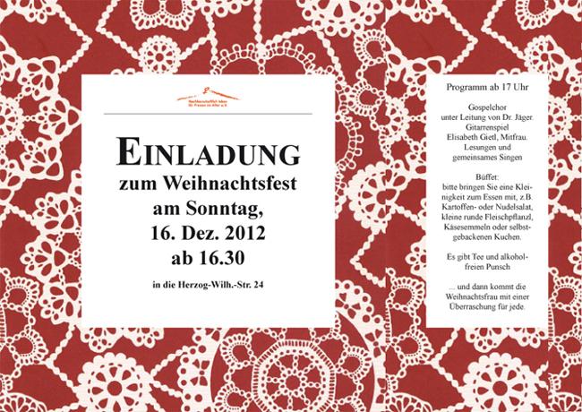 """Weihnachtsfeier 2012 des """"Förderverein - Nachbarschaftlich leben für Frauen im Alter"""""""